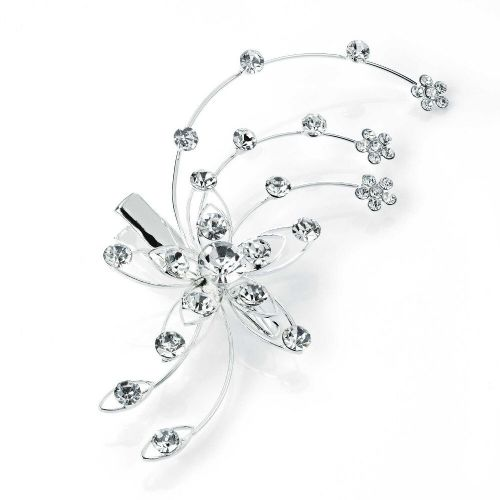 Crystal Flower Splay Mini Silver Hair Beak Clip